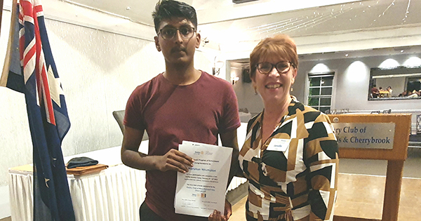 Harishan Ramananthan following his attendance at the summer Rotary Youth Program of Enrichment (RYPEN). RYPEN is a flagship program aimed at providing teenagers aged 14-16 (ideally a student in year 9 or 10) with opportunities to develop